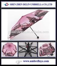 All promote umbrella cost with tower print, cheap umbrella decoration