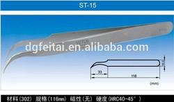 Hand tool Stainless steel tweezers,ST-15 curve tweezers