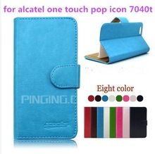 PU Leather flip wallet phone case for alcatel one touch pop icon 7040t Leather flip phone cover