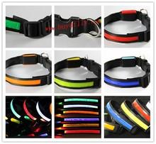 Black edge Dog Pet Glow Flashing LED Collar Necklace Leash Nylon Webbing Adjustable Various Colors ( S, M, L, XL )