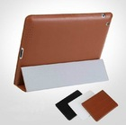 Corner Protection Tri-Fold Genuine Leather Case for Apple iPad Air 2 with Multi-Angle Viewing Stand