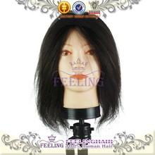 Feeling straight hair natural color 100% human hair training head/human hair mannequin head/hair models women