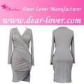 Barato 2014 mais recente vestido V profundo decote drapeado projeta fotos vestido