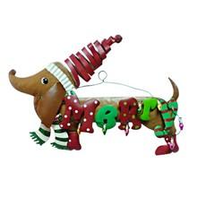 Brown dog Merry Christmas metal wall plaque
