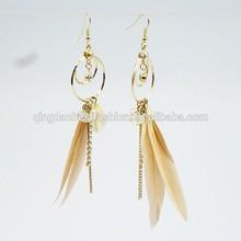 2014 Fashion Feather Zinc Alloy Dangle Earrings for Women Le -000130