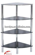 display furnitures triangle corner table/ dvd glass shelf