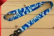 Quality customize nylon with silkscreen print blue color like sky lanyard