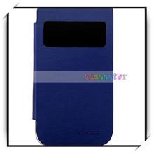 Plastic Flip Open Pu Leather Phone Case Black Dark Blue For DOOGEE DG300
