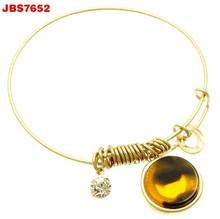 Hot sale fashion simple alloy adjustable round marble crystal bracelet