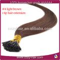 Atacado 2014 cola itália i extensões ponta 100% virgem do cabelo humano brasileiro pre- ligado ponta de queratina da extensão do cabelo fusão
