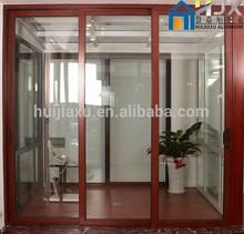 Good Thermal Break Insulation Aluminum Wooden Color Clad Sliding Doors in Double Glazed