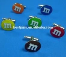 Hard enamel MM coloful cufflinks, MM promotional gifts cuff links