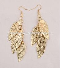 2015 fashion model jewelry gold leaf earrings for women