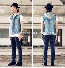 Factory Wholesale fashion Men denim jacket Sleeveless Denim Jacket