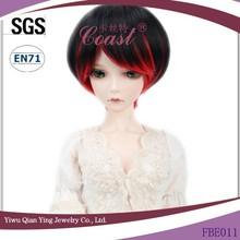 short straight black and red bob cut 1\3 BJD doll wigs