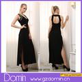 kadın moda tasarım geri kesip uzun bölünmüş maksi elbise