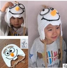 Handmade Crochet Frozen Olaf Hat Children's Knitted Caps Newborn Infant Toddler Hats Kids Winter Beanie Skullcap Earflaps