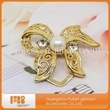 Lady's fashion flower white pearl bridal wedding luxury crystal elegant brooch