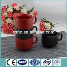 220CC matte color glazed ceramic espresso stackable cup