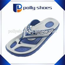 European men logo pvc upper double sole blue white eva sole flip flop