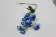 Wholesale mini blue artificial rose flower bouquet for home decoration silk rose flower bouquet