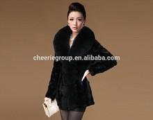 2014 fashion design new style ladies pretty elegant mink fur coat with fox fur collar