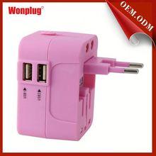 Wonplug 2014 the newest 5V/2.1A dual USB travel adapter plug korea