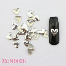Cheapest Price Organic Nail Prodcuts Neon Heart Design Metal Nail 3D Studs For Nail