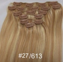 Superme 100% remy human clip in hair extensions,sample order free color ring