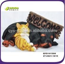 "resin garden ornaments sleeping dog &cat ""welcome"""