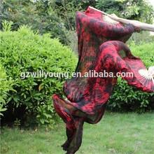 Del vientre de seda de la danza, Danza del vientre bonita Tye teñidos Fan de seda velos, 1.8 * 0.9 m, Alta calidad de Tie teñido negro / rojo