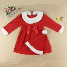 new arrival lovely long sleeve girl red christmas dress with hat with red bowknot hot girl without dress without any clothes