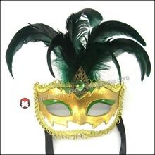 Beautiful Sequined Bright Blue Feathered Mardi Gras Costume Eye Mask