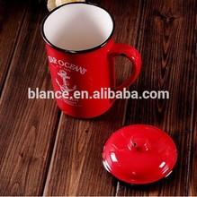 ceramic red enamel mug