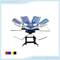 HS-SPE662N 6 colors 6 stations manual Operating Rotating screen printing machine for t-shirt with dryer