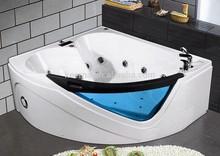 High Quality cheap acrylic corner glass whirlpool massage bathtub