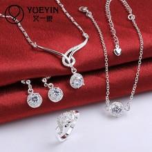 Latest Wholesale Colored CZ Silver Plated Fashion Wedding Jewelry Set
