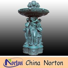 holding pot lady statue standing and top animal lion head garden water bronze fountain NTBF-L149