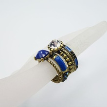 Fashion Jewelry Vintage bronze plated 3 piece ring set with rhinestone crystal blue epoxy