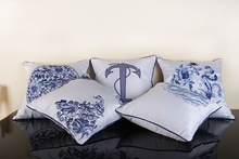 100% polyester fake silk cushion cover blue and white porcelain embroidery design