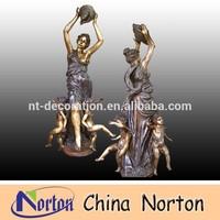 nude children playing bronze statue ,Garden decorative Large brass fountain NTBF-M057