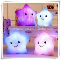 Colorful high quality plush star shape LED pillow