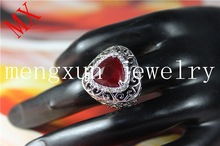 Mengxun edge winding crystal heart Bohemian red gem price of white opal stone real gold plated ring jewelry gold R-26