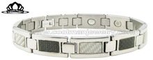 new fashion 316l stainless steel bracelet with carbon fiber