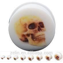 White acrylic skull piercing plug ear stretcher body piercing jewelry