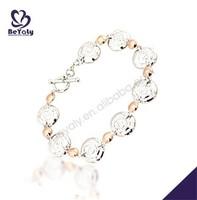 Orange beads decorative flower design silver jewelry brass