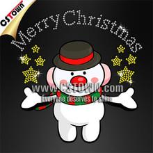 Merry christmas bling custom rhinestone applique designs