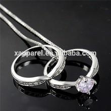 Wholesale fashion jewellry Rhodium Plated Prong Settig Wedding ring with AAA CZ Stone
