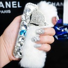 Luxury Winter Rabbit Fur Cellphone Covers for iPhone 5s with Diamond