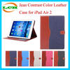 Unbreakable Jean Contrast Color Flip Leather Case for iPad Air 2